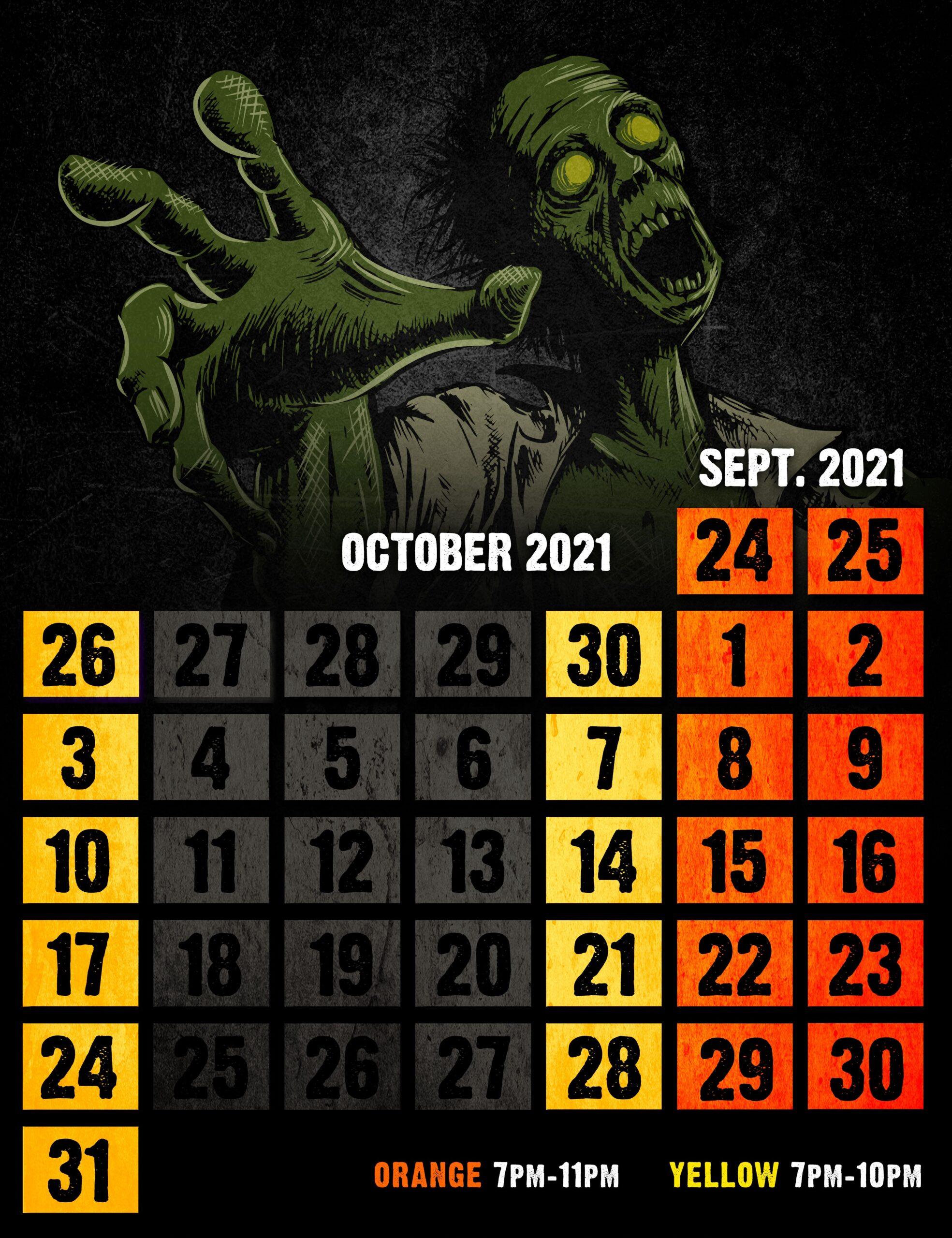 2021 zombie calendar