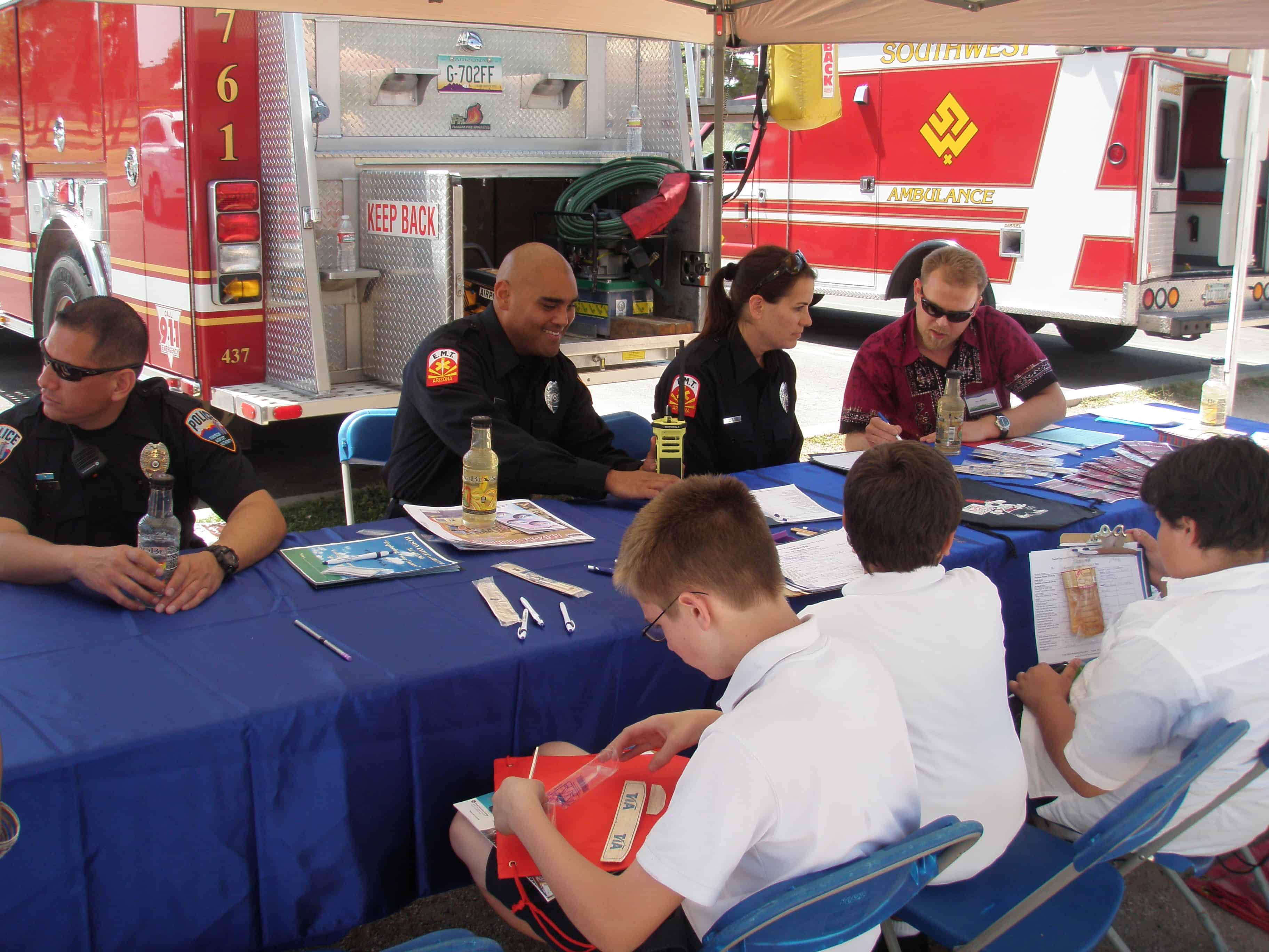 Tucson Fire Dept booth Career Days 2012