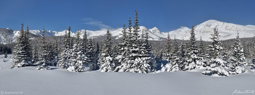 contintal divide above brainard lake colorado in deep winter snow