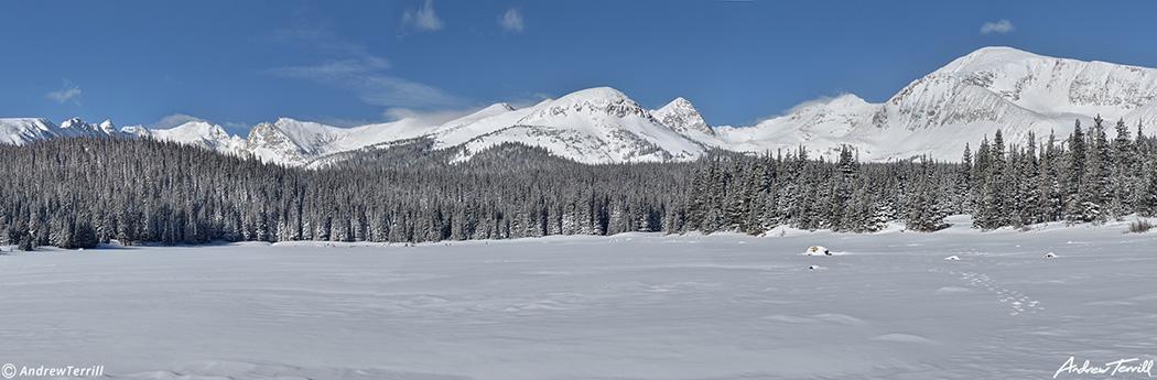 winter view of brainard lake in snow in indian peaks wilderness colorado