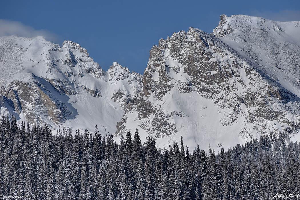 winter view of continental divide between Apache Peak and Shoshoni Peak near brainard lake indian peaks wilderness colorado