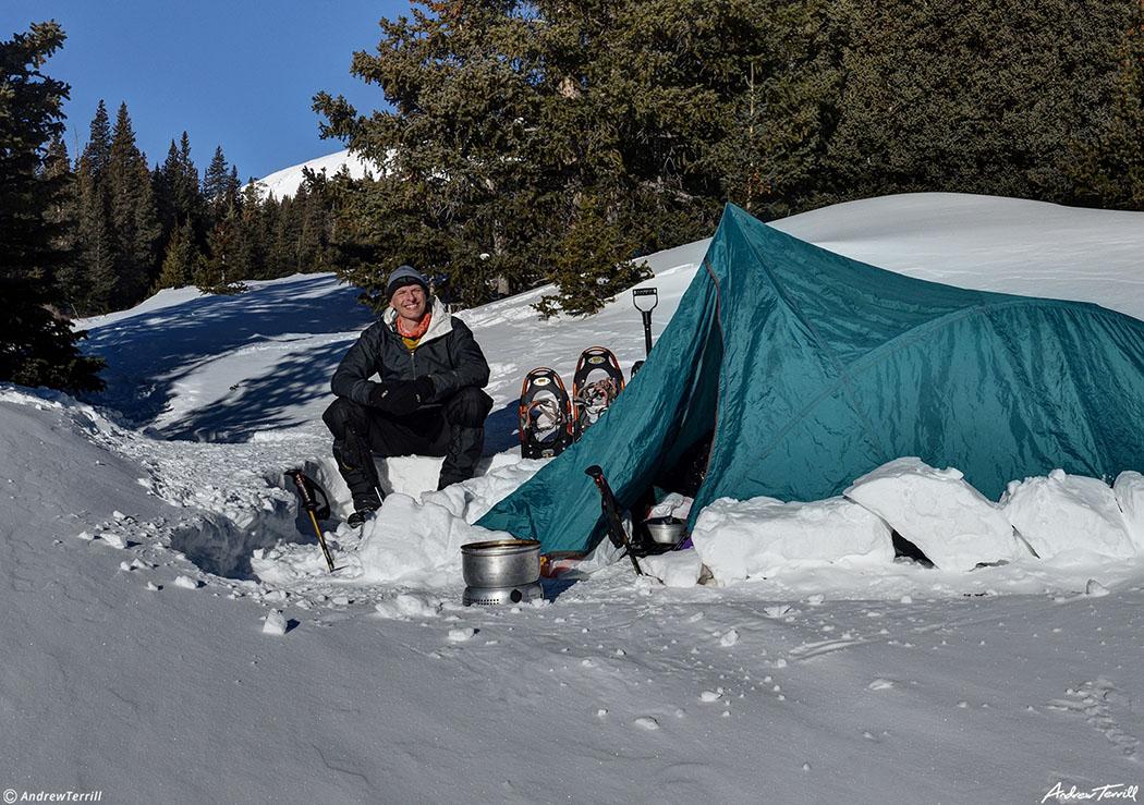 andrew terrill camping in snow in winter colorado february 2021