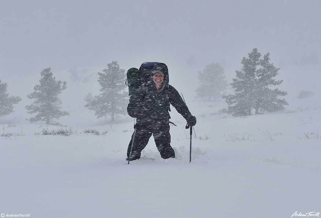 andrew terrill mad mountain jack hiking in blizzard in colorado foothills