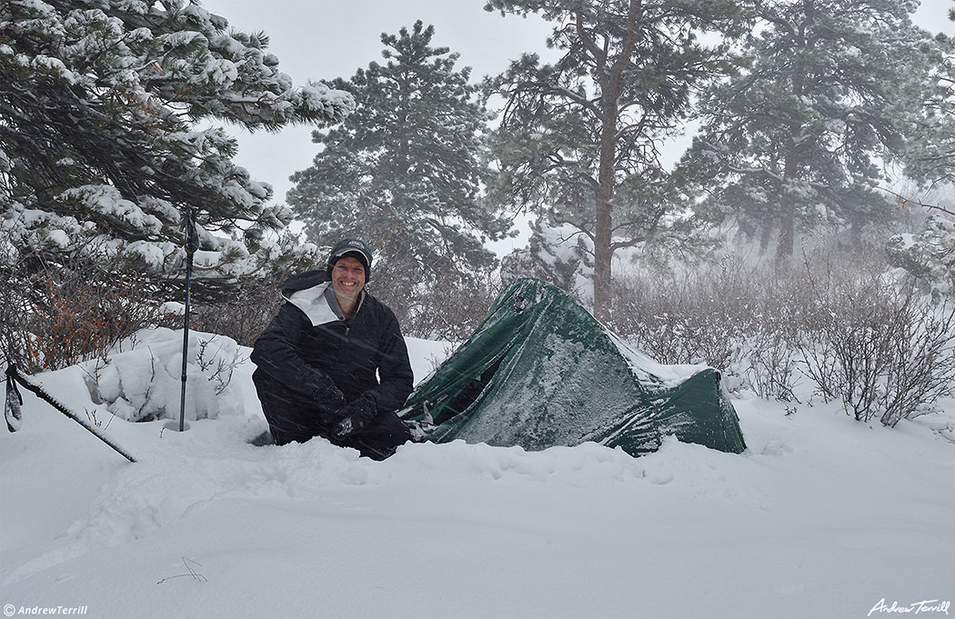 andrew terrill with auld leakie hiker camping in snowstorm colorado
