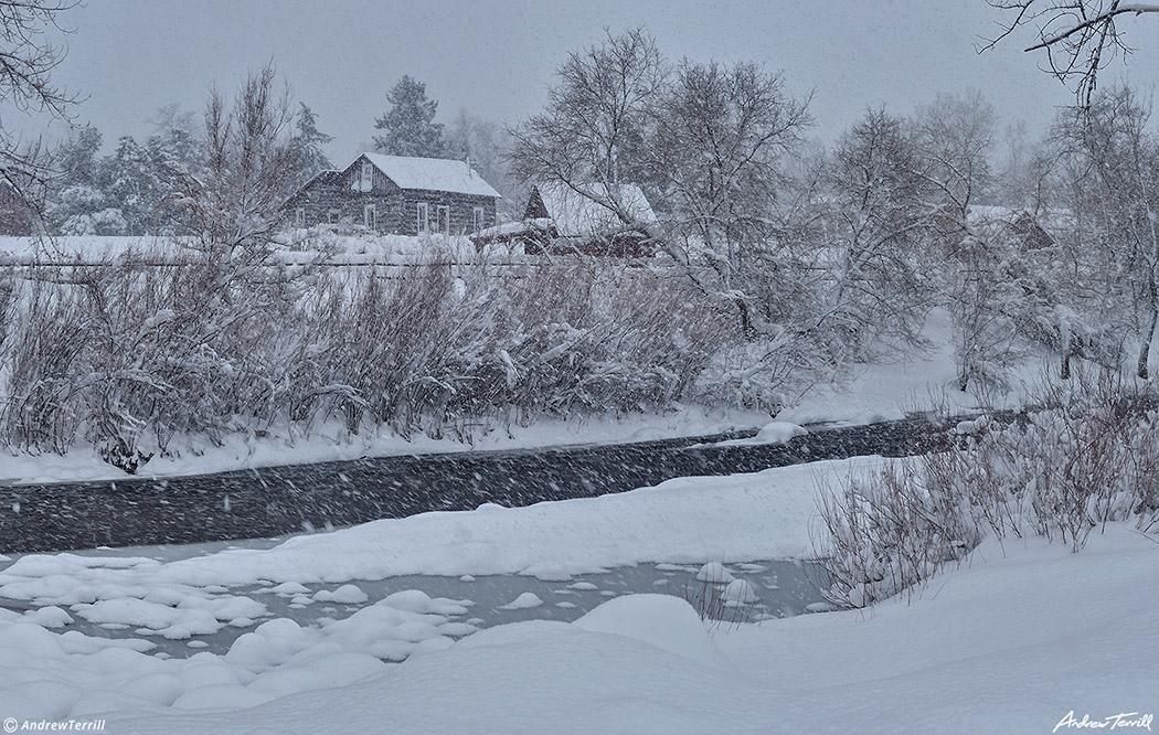 clear creek and golden history park during blizzard march 2021