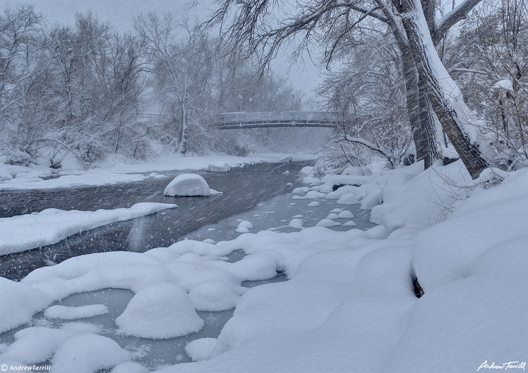 clear creek in golden colorado during snowstorm march 2021