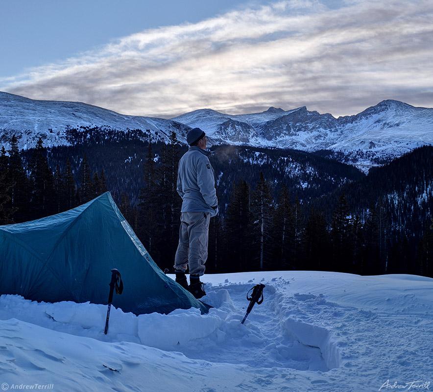 frigid cold winter camp in snow in mount evans wilderness colorado