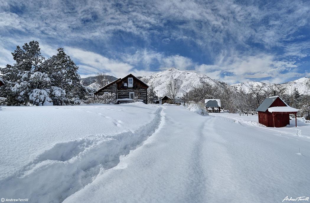 golden history park in golden colorado in deep snow march 2021