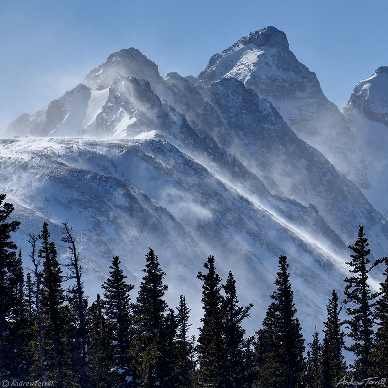 navajo peak near brainard lake with spindrift in snow in winter rocky mountains colorado