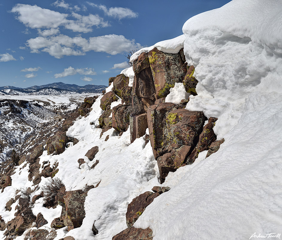 snow drift above cottonwood canyon on north table mountain golden colorado