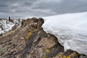 snow drift on north table mountain golden colorado