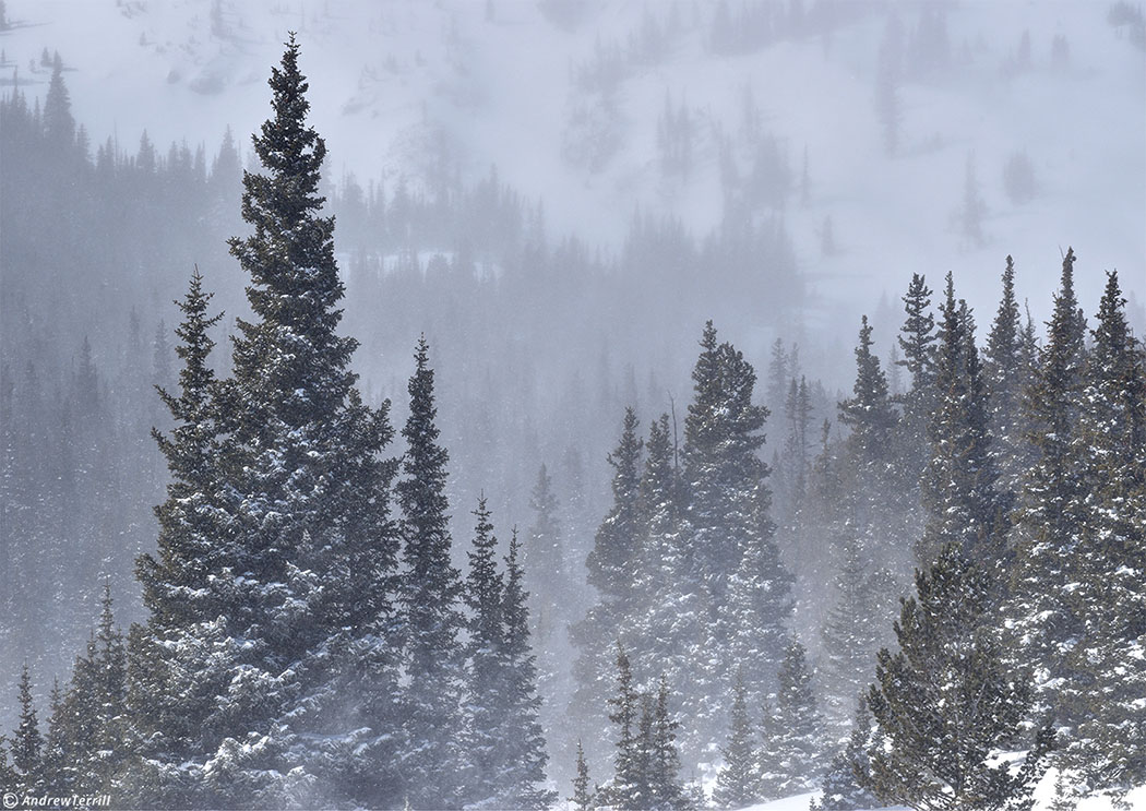 spindrift and freezing winds in colorado winter mountains