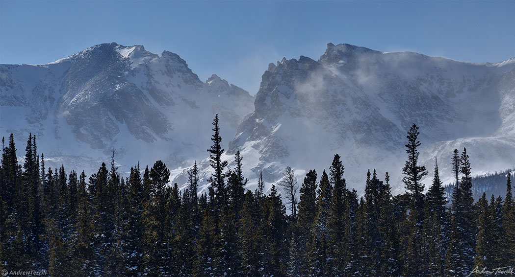 spindrift and snow on continental divide near brainard lake colorado in winter