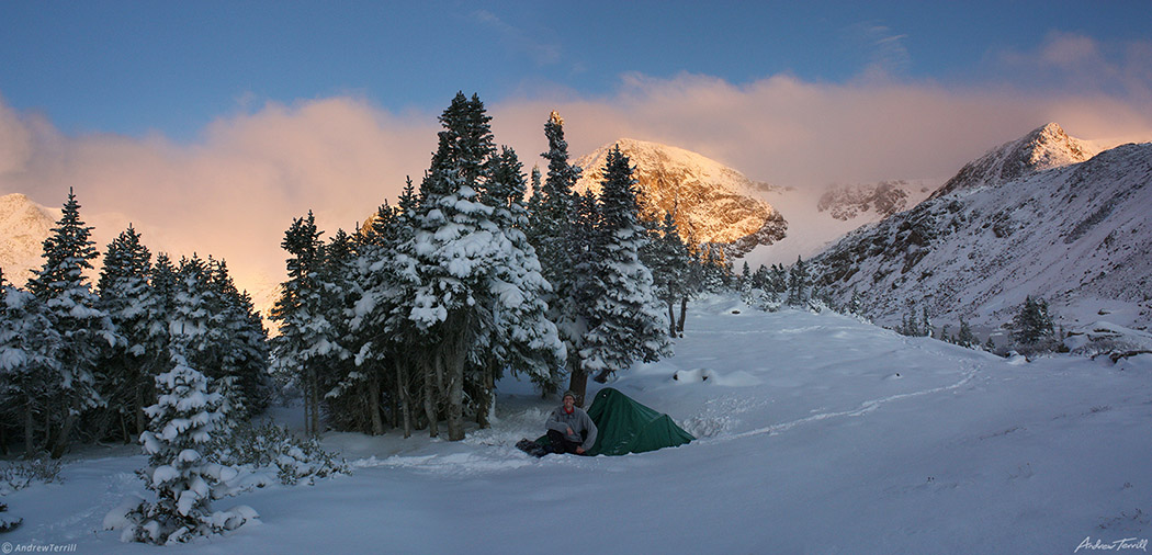 winter camping at sunrise indian peaks wilderness colorado