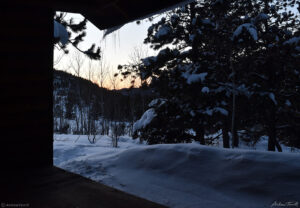 winter dawn seen from appalachian style shelter