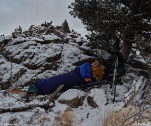 andrew terrill bivvy in the snow january 2021