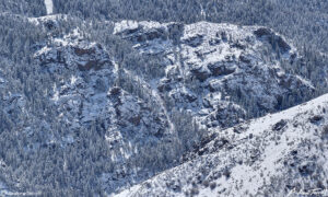 clear creek canyon in the snow seen from Mount Galbraith near Golden Colorado