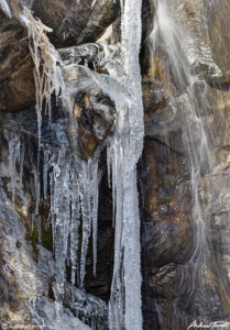 icicles and waterfall on north table mountain golden colorado april 2021