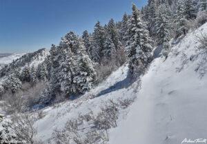 unbroken trail in snow on mount galbraith golden colorado april 2021
