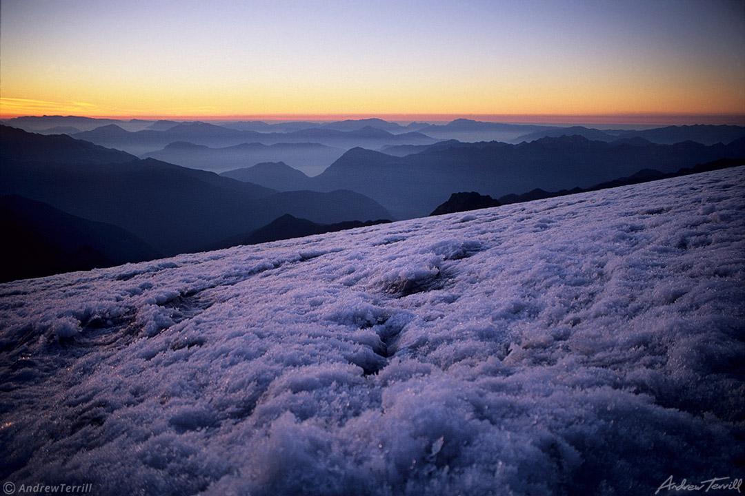 sunrise over glacier in adamello national park italy alps