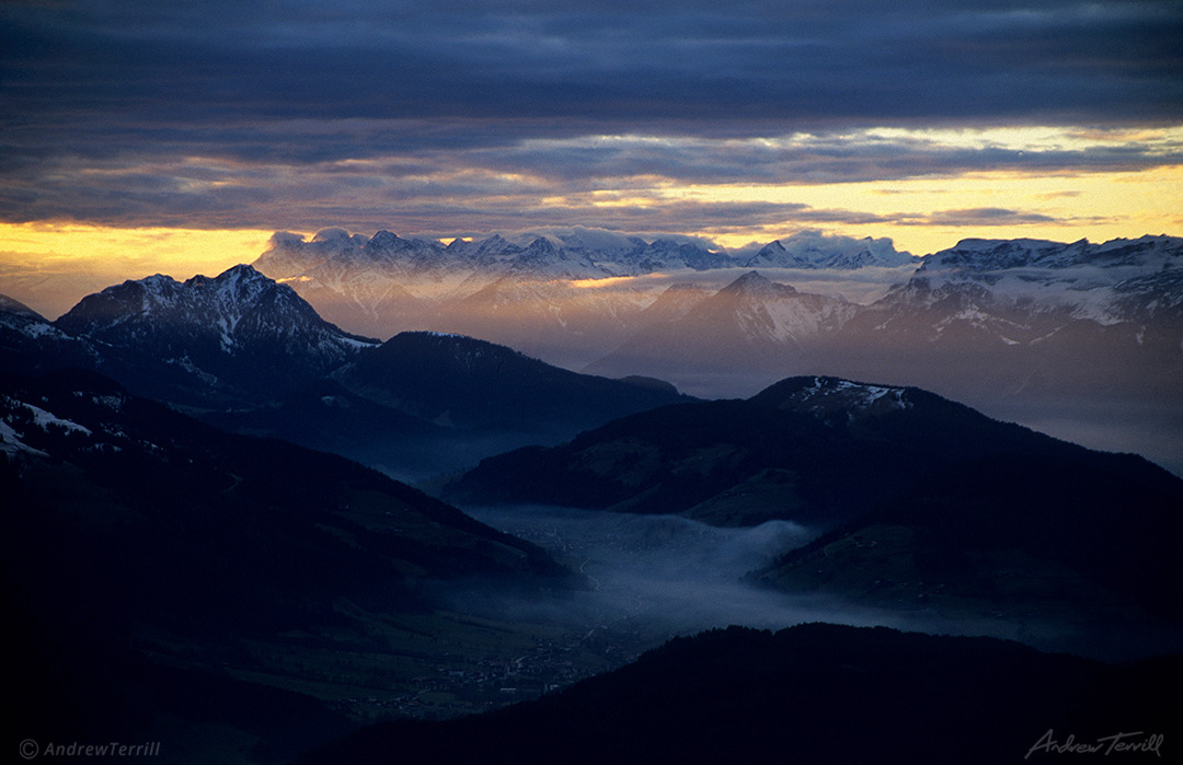 evening light across the alps austria kitzbuhel