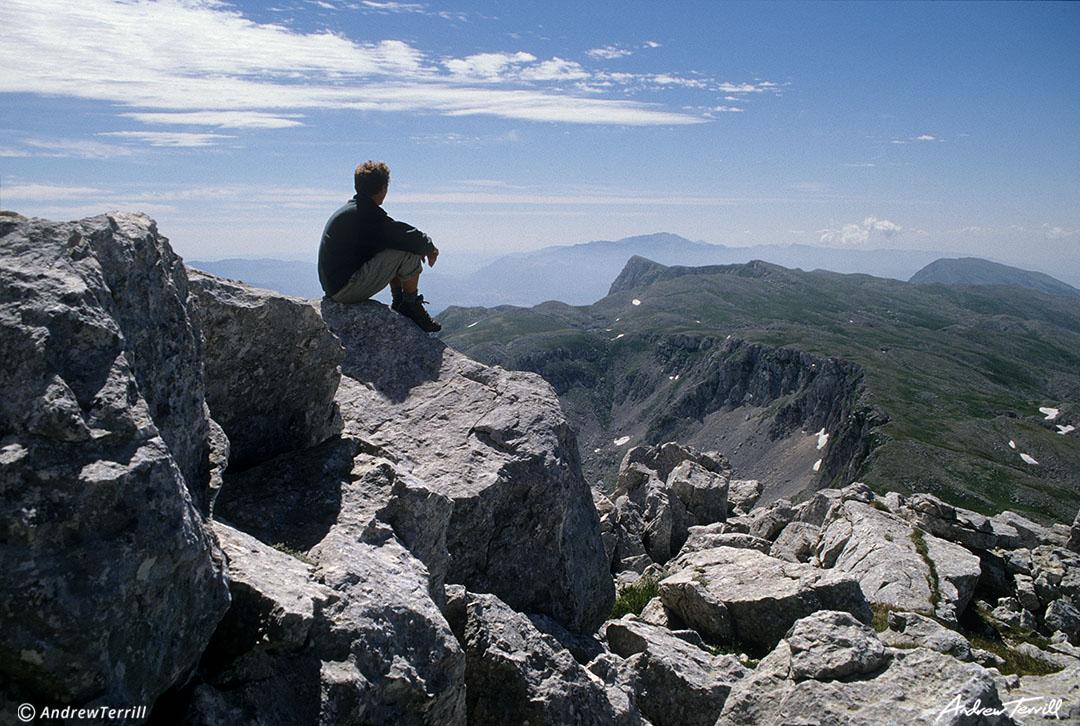 andrew terrill hiker on ridge in apennines italy june 1997