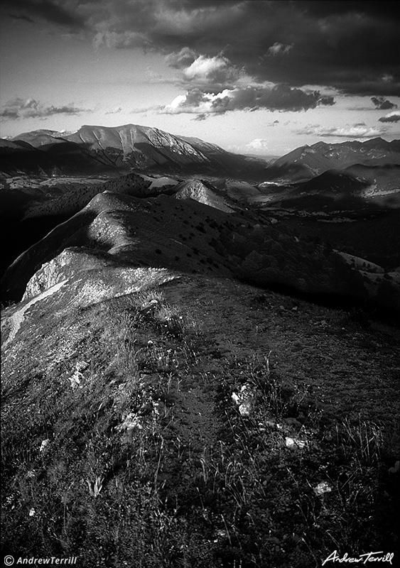 evening light monte lorio abruzzo apennines italy black and white
