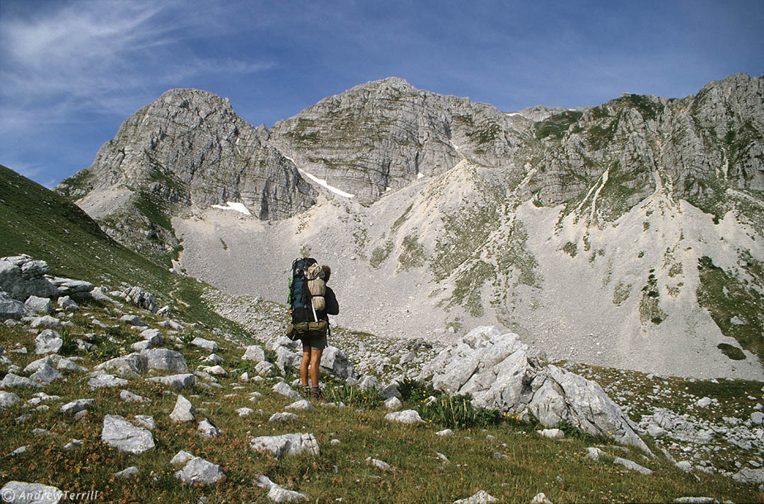 hiker backpacker abruzzo apennines mountains italy