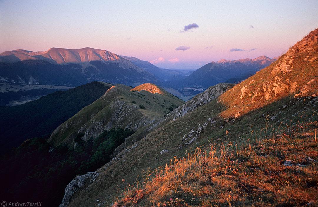 last light from monte lorio in abruzzo apennines italy