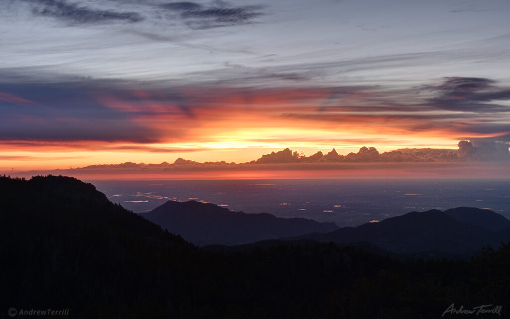 sunrise over the great plains seen from rocky mountains colorado