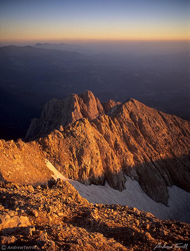 sunrise summit gran sasso d italia corne grande glacier abruzzo apennines italy