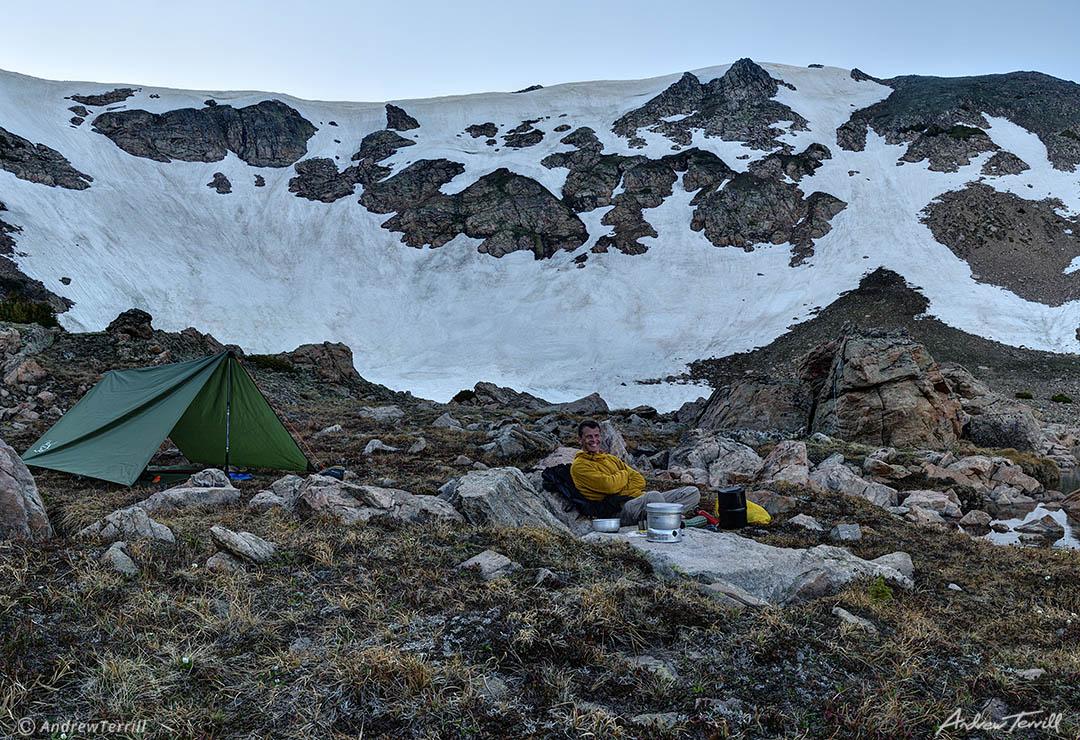 tarp camp in wild mountain cirque