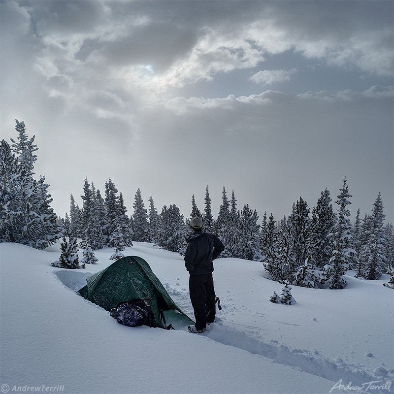 winter camp on snow covered mountain in colorado