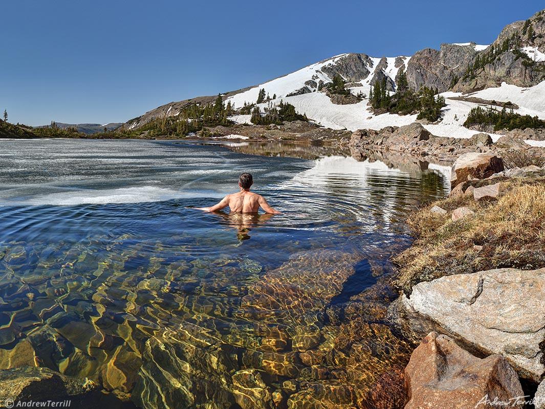 swimming in icy mountain lake wild swim rockies colorado
