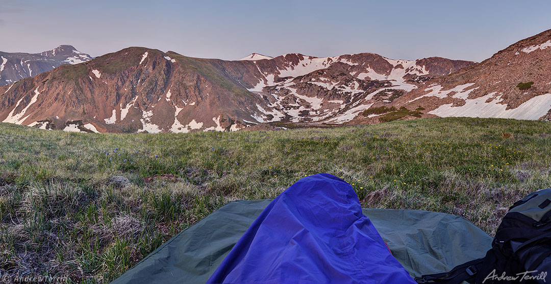 sunrise in rocky mountains from sleeping bag