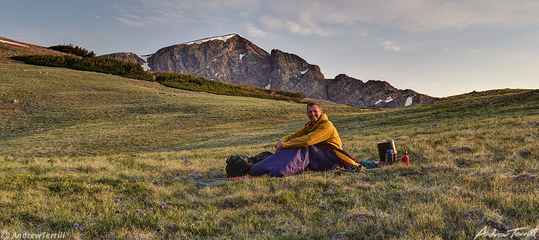 andrew terrill bivvy on mountain side rockies
