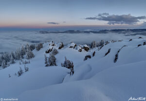 deep snow on mountain after sunset colorado