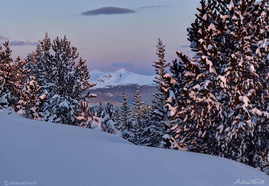 winter sunrise alpenglow and snow on grays and torreys peak colorado