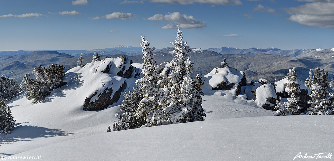 Winter snow covered trees forests and mountains in colorado rocky mountains