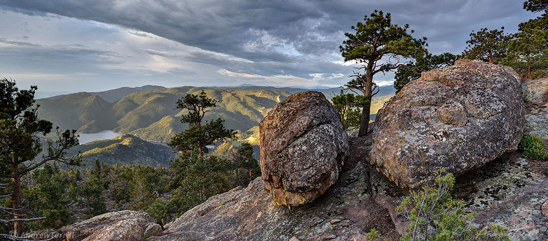 rocks trees and foothills early morning colorado front range