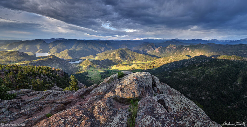 sunrise across the colorado front range foothills near lyons