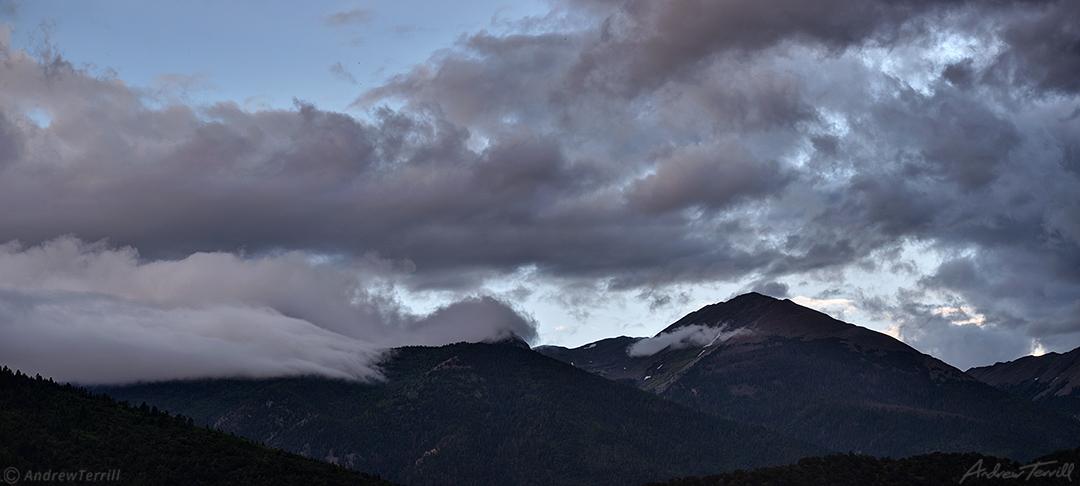dispersing evening clouds over sangre di cristo range colorado