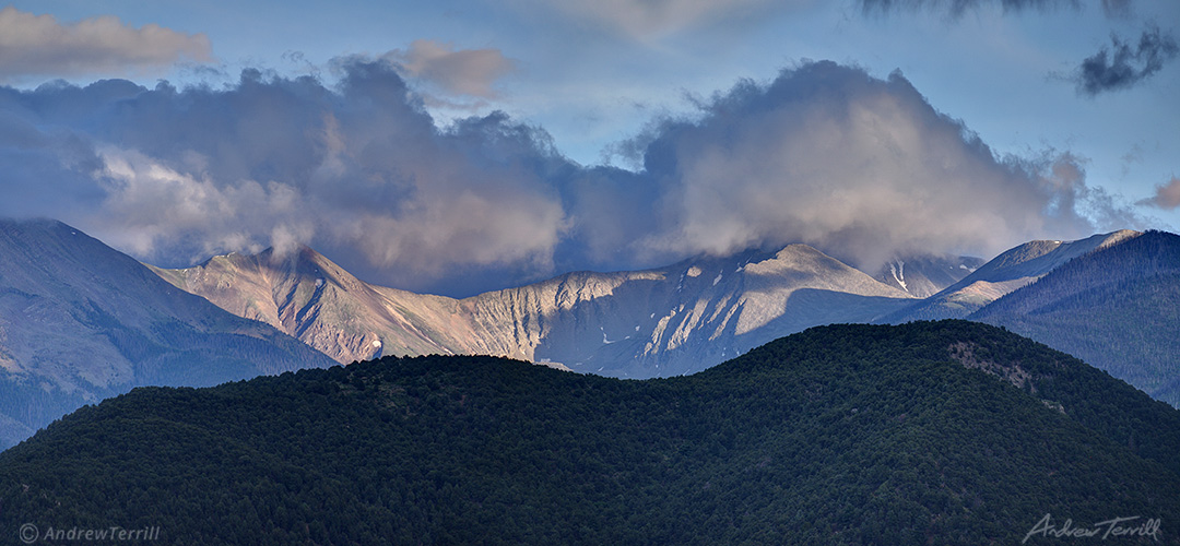 evening light and clearing storm sangre di cristo range colorado
