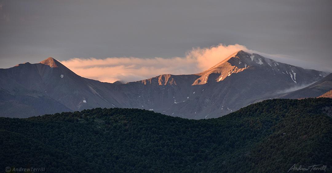 sunrise light sriking sangre di cristo mountains colorado