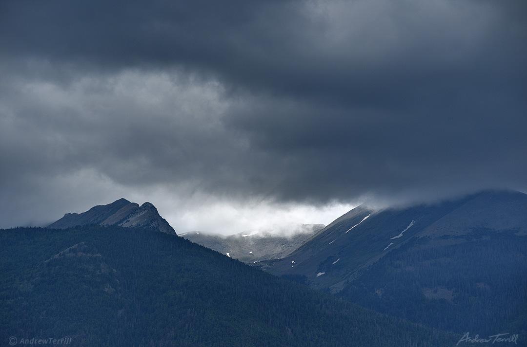 threatening storm clouds over colorado mountains sangre di cristo range