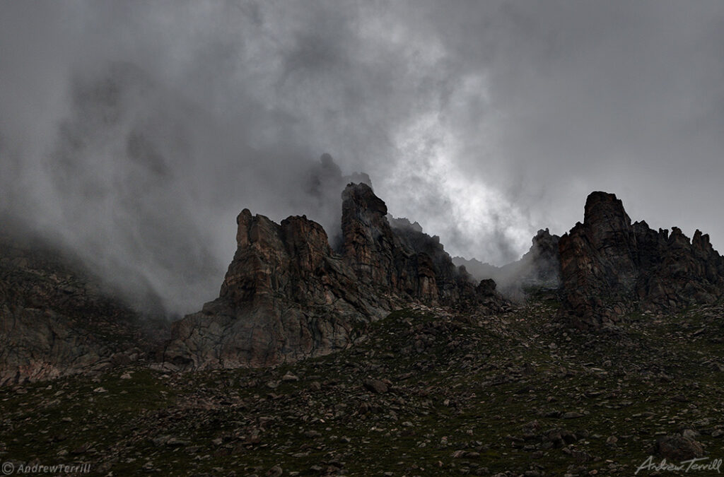 rock towers and storm clouds colorado