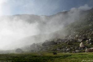 morning mist on mountain slope mount evans colorado