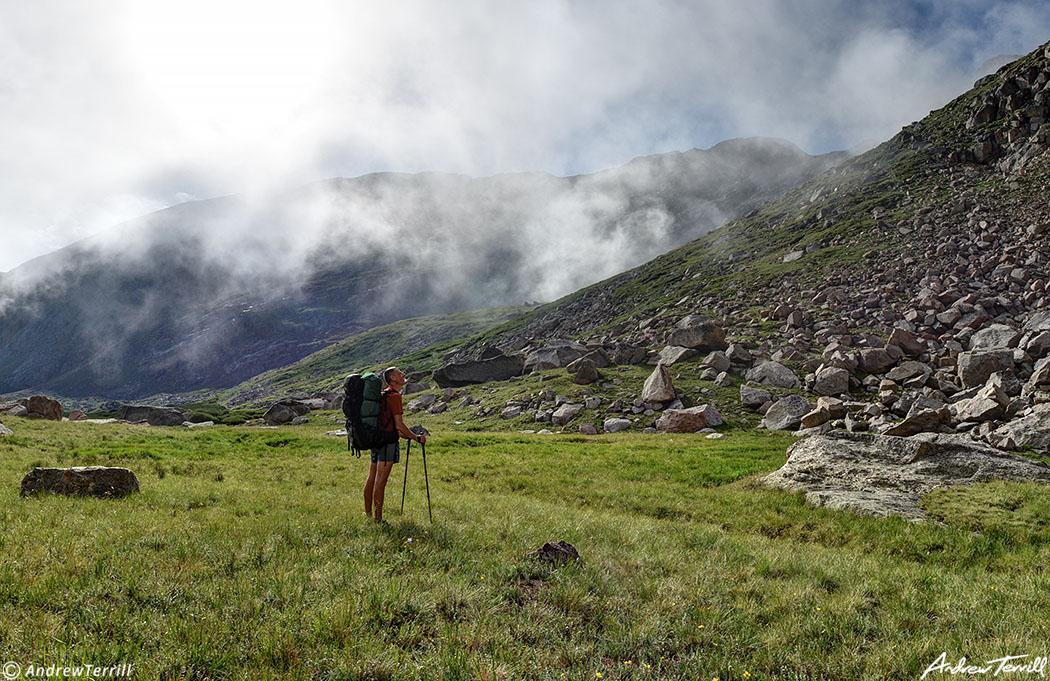backpacker hiker and fog mount evans colorado