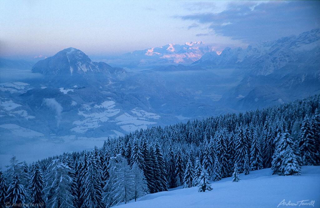 Winter evening sunset in the Austrian Alps December 4 1997