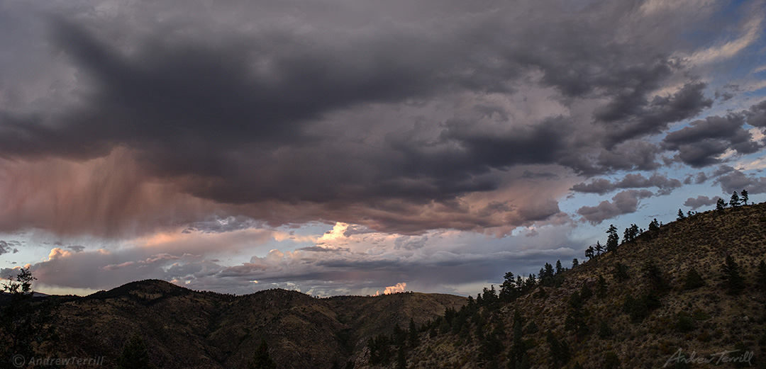 evening thunderstorm over rocky mountain foothills